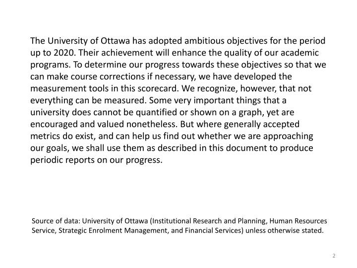 The University of Ottawa has adopted ambitious objectives for the period up to 2020. Their achievement will enhance the quality of our academic programs. To determine our progress towards these objectives so that we can make course corrections if necessary, we have developed the measurement tools in this scorecard. We