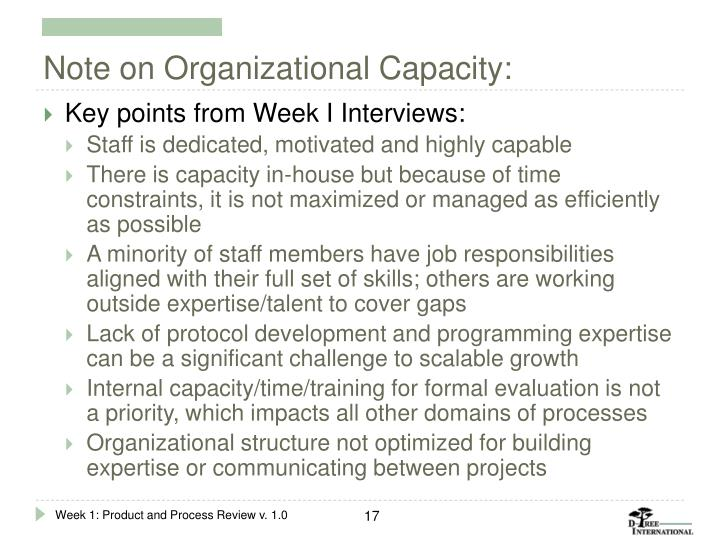 Note on Organizational Capacity: