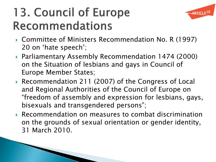13. Council of Europe Recommendations