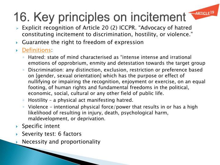 16. Key principles on incitement