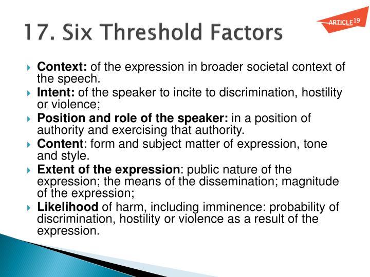 17. Six Threshold Factors