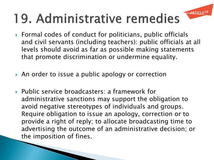 19. Administrative remedies