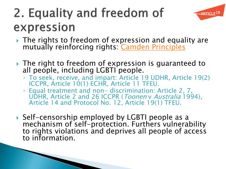 2. Equality and freedom of expression