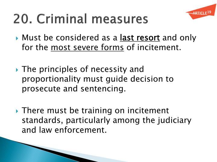 20. Criminal measures
