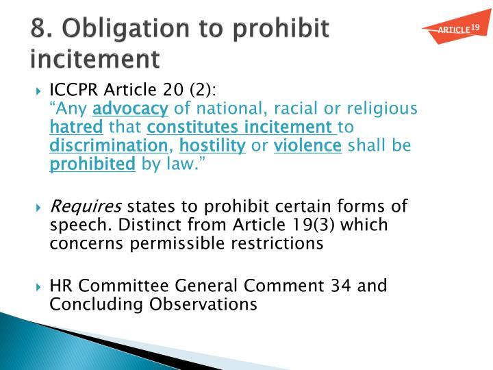 8. Obligation to prohibit