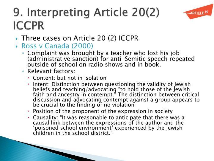 9. Interpreting Article 20(2)