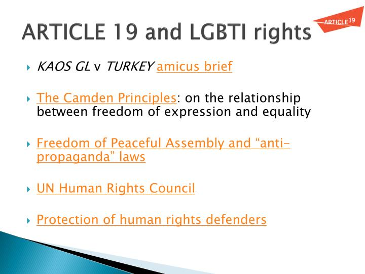 ARTICLE 19 and LGBTI rights