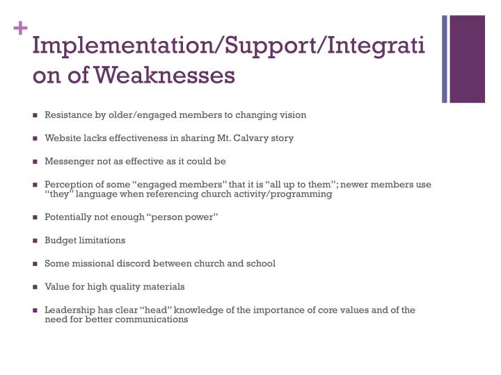 Implementation/Support/Integration of Weaknesses