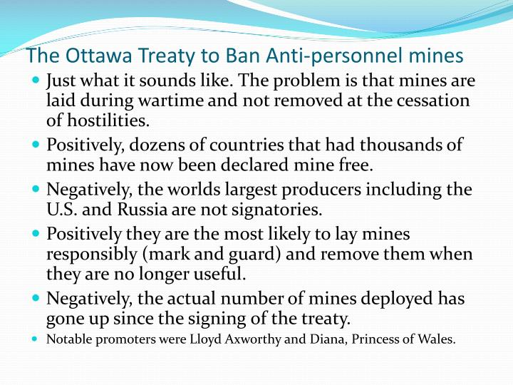The Ottawa Treaty to Ban Anti-personnel mines