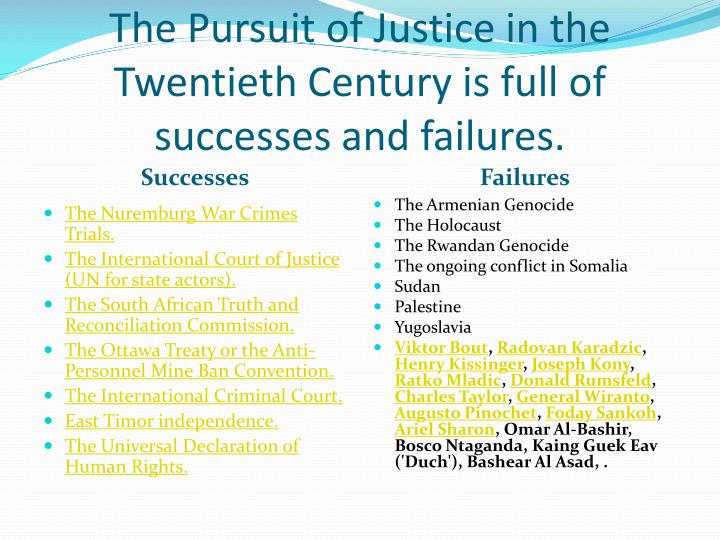 The Pursuit of Justice in the Twentieth Century is full of successes and failures.
