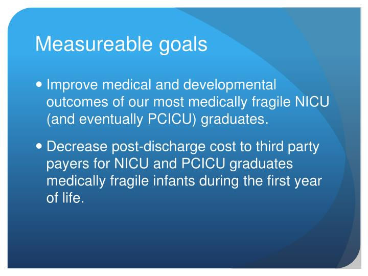 Measureable goals