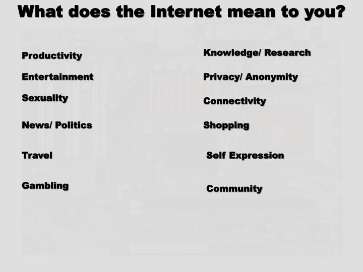 What does the Internet mean to you?
