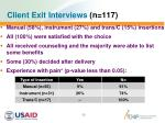 client exit interviews n 117