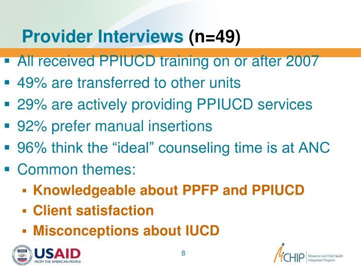 Provider Interviews