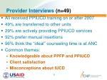 provider interviews n 49