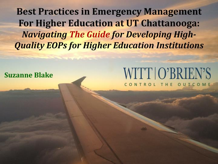 Best Practices in Emergency Management For Higher Education at UT Chattanooga: