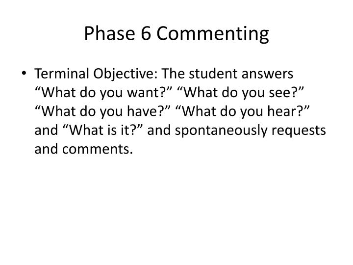 Phase 6 Commenting