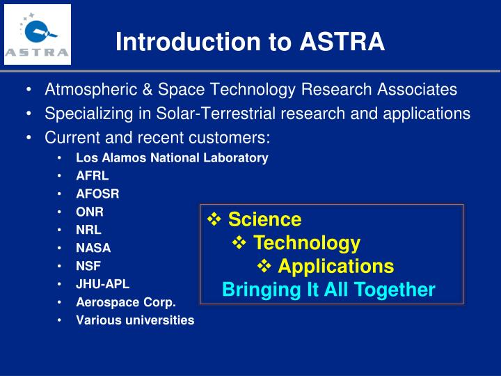 Introduction to ASTRA