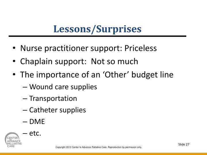 Lessons/Surprises