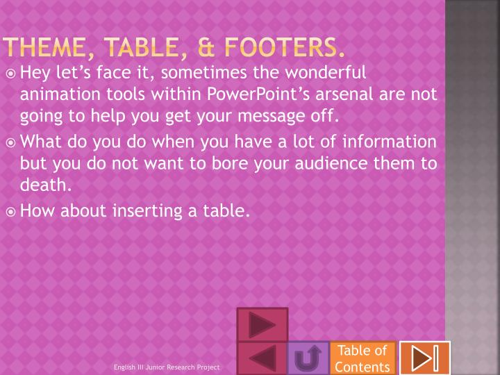 Theme, table, & footers.