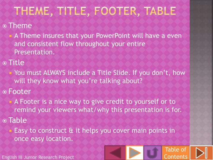 Theme, title, footer, table