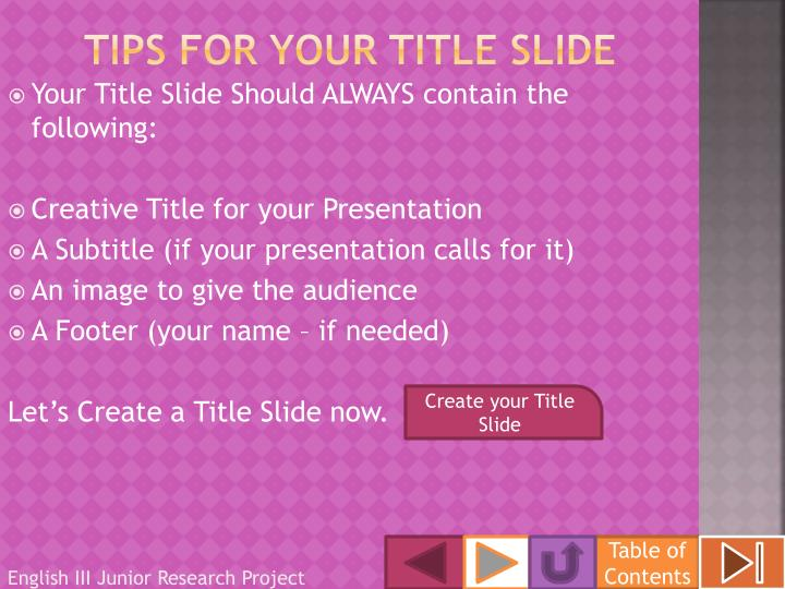 Tips for your title slide