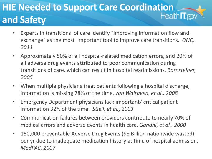 HIE Needed to Support Care Coordination
