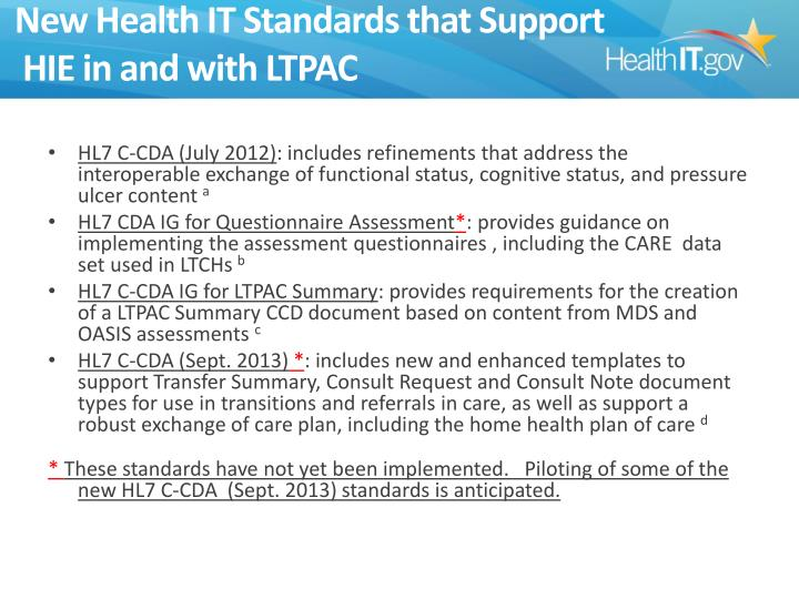 New Health IT Standards that Support