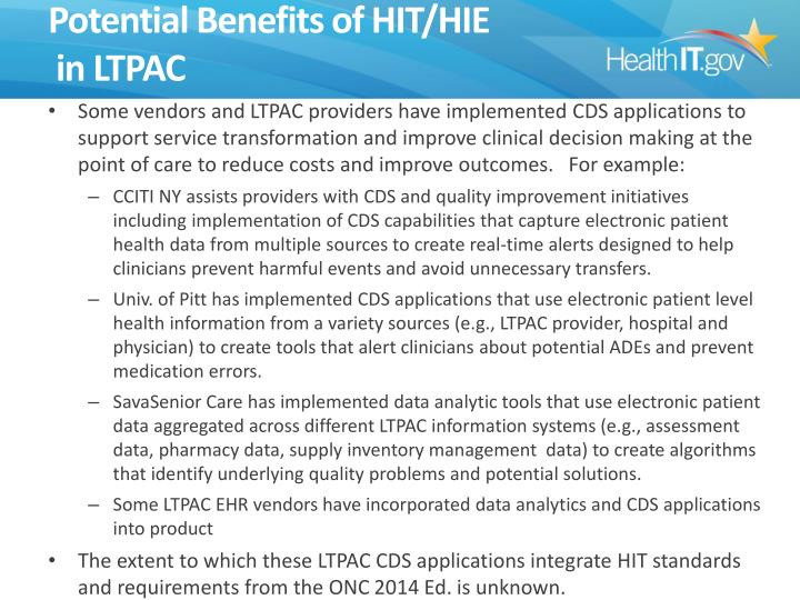 Potential Benefits of HIT/HIE