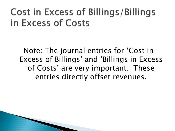 Cost in Excess of Billings/Billings in Excess of Costs