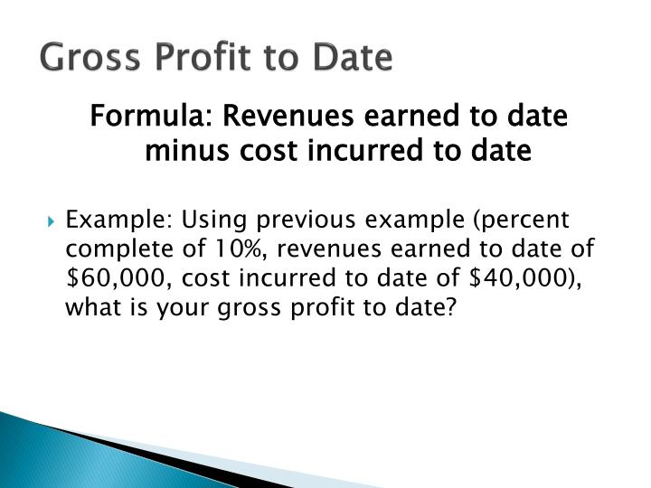 Gross Profit to Date