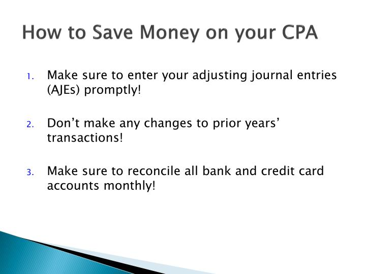 How to Save Money on your CPA