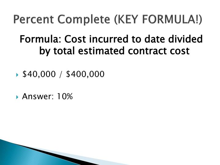 Percent Complete (KEY FORMULA!)