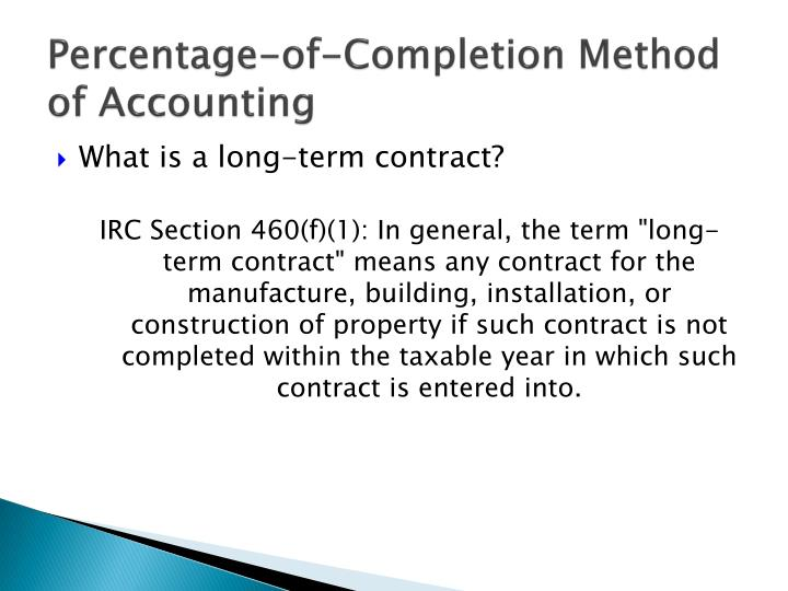 Percentage-of-Completion Method of Accounting