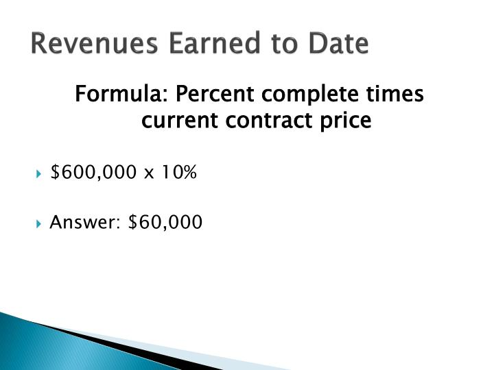 Revenues Earned to Date