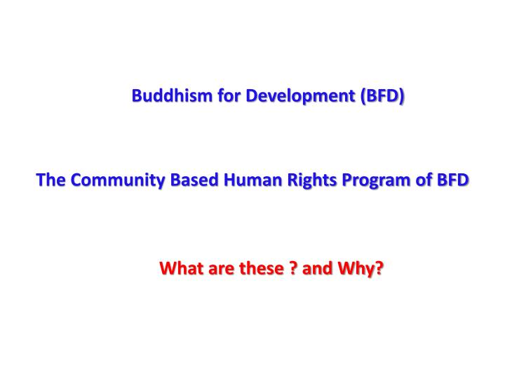 Buddhism for Development (BFD)
