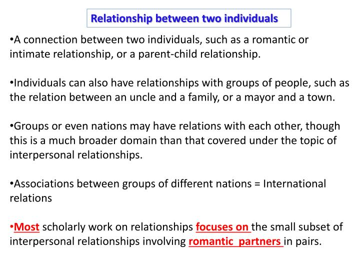 Relationship between two individuals