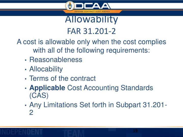 Allowability