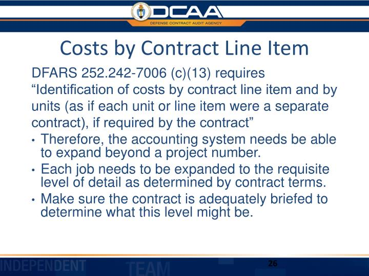 Costs by Contract Line Item