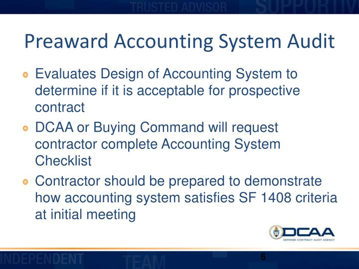 Preaward Accounting System Audit