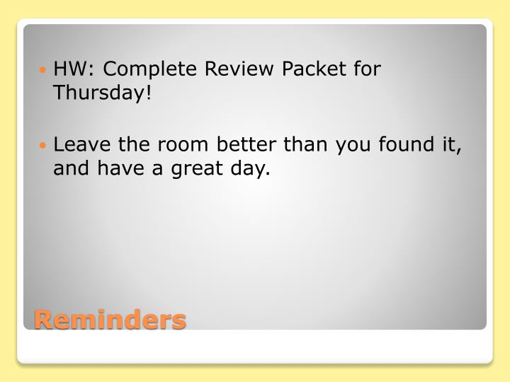 HW: Complete Review Packet for