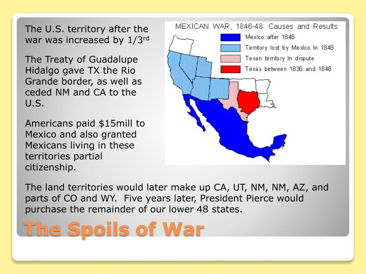 The U.S. territory after the war was increased by 1/3