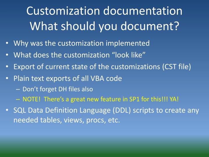 Customization documentation