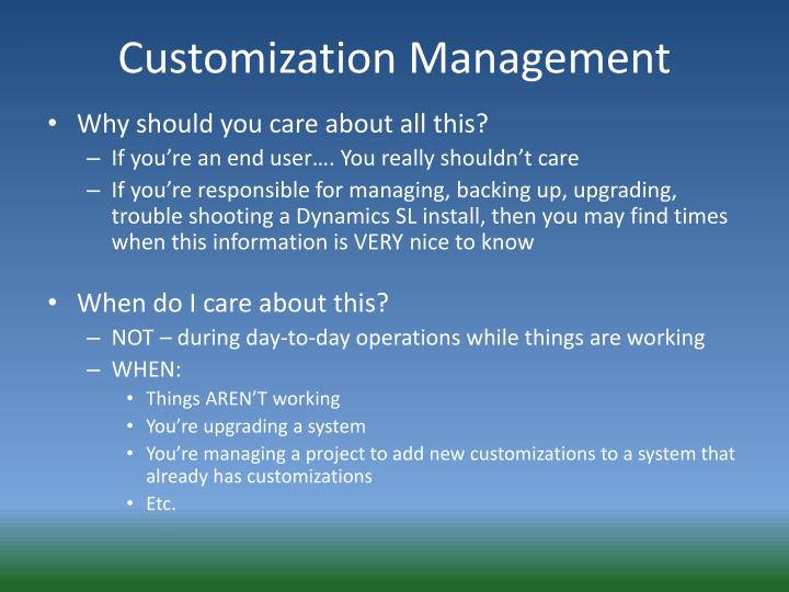 Customization Management