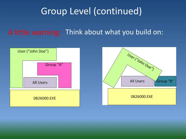 Group Level (continued)