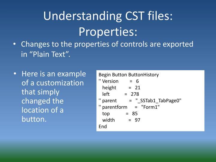 Understanding CST files: