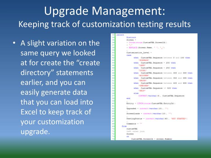 Upgrade Management: