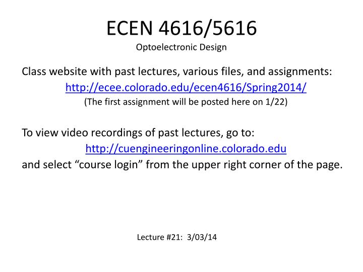 Ecen 4616 5616 optoelectronic design