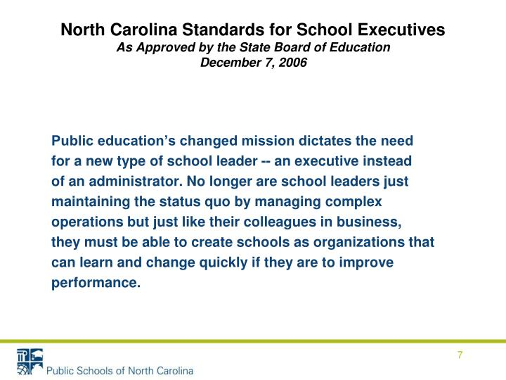 North Carolina Standards for School Executives