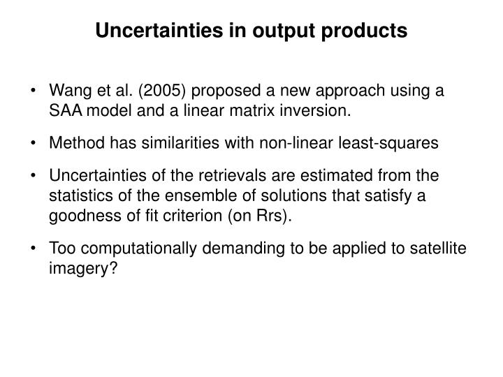 Uncertainties in output products
